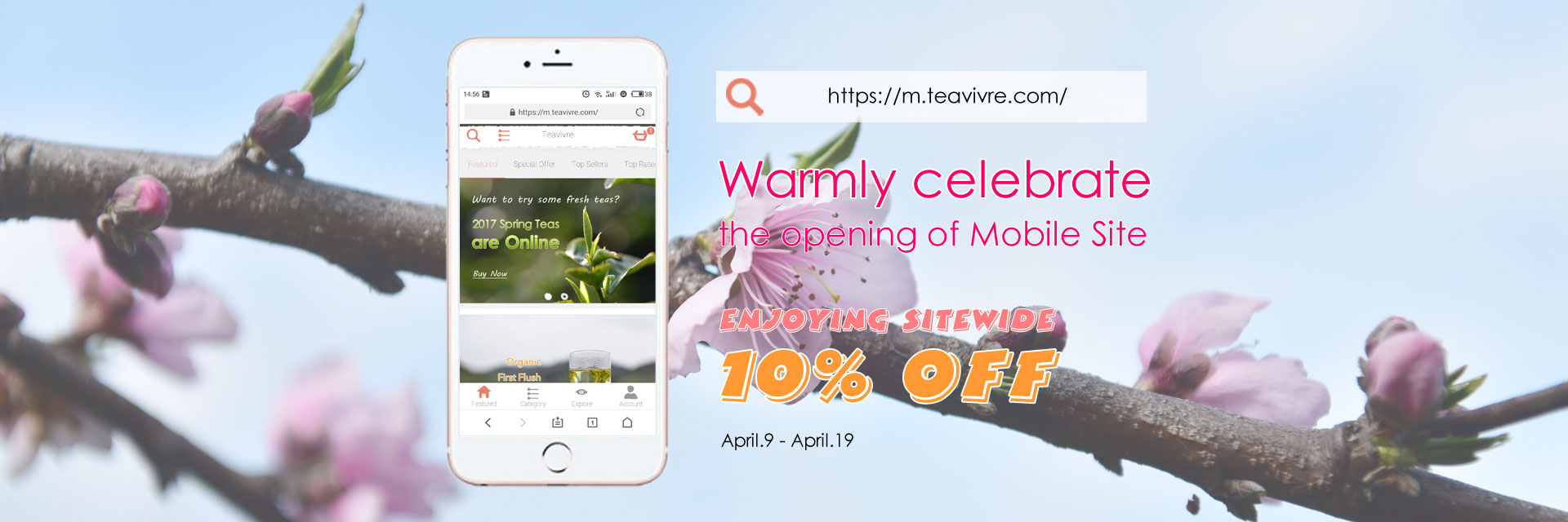 Enjoying 10% Discount at Teavivre Mobile Site