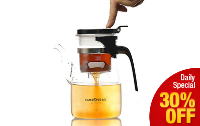 Manually Blow-Molded Glass Infuser Teapot