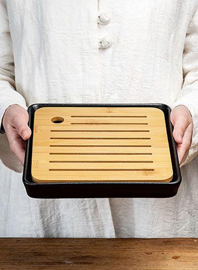 Black Pottery Bamboo Tea Tray