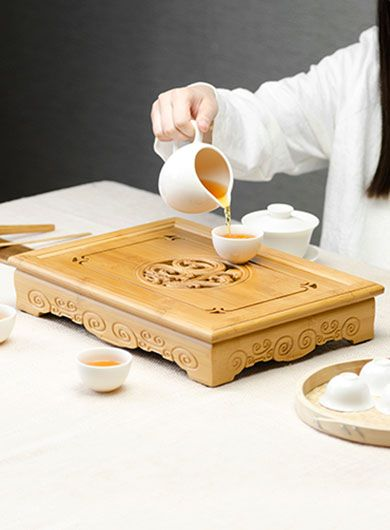 Blessing Dragon & Phoenix Gongfu Bamboo Tea Tray