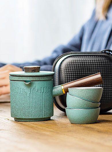 Bluestone Glazed Kuai Ke Bei Travel Tea Set