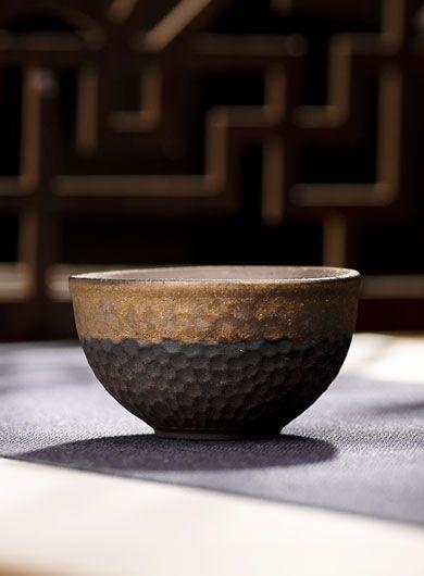 Gilt Glazed Coarse Pottery Tea Cup