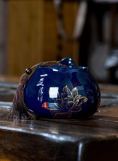 Lotus Pottery Tea Caddy
