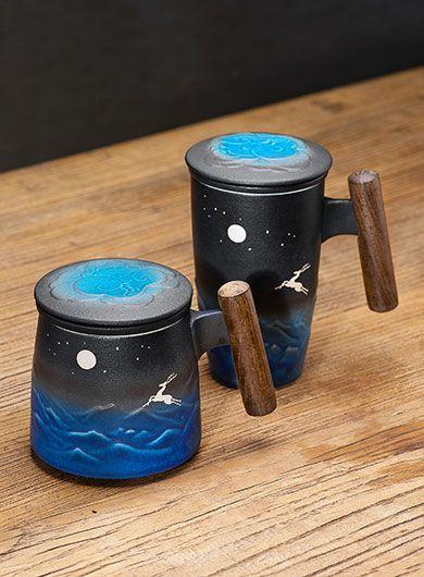Reindeer Black Ceramic Tea Mug with Infuser