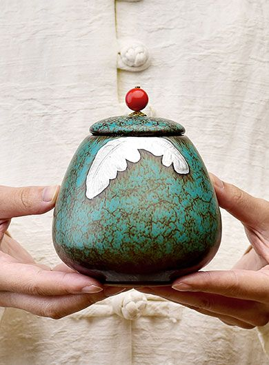 Fambe Glaze Pottery Tea Caddy