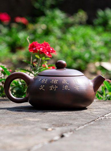 Handmade Qinzhou Nixing Pottery Teapot Flat Xishi