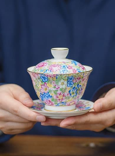 Flowers Blooming Porcelain Gaiwan