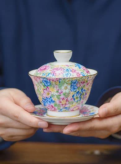 Flowers Blooming Porcelain Gaiwan