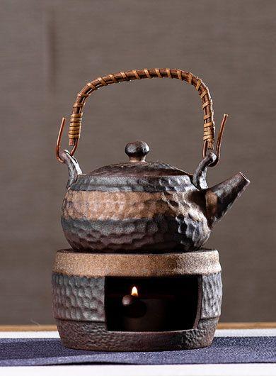 Gilt Glazed Coarse Pottery Candle Stove Teapot Set