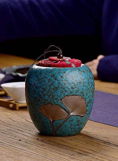 Coarse Pottery Ginkgo Tea Caddy
