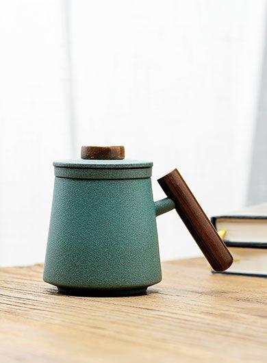 Bluestone Glazed Ceramic Tea Mug with Infuser