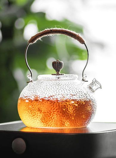 Hammered Pattern Heat-resistant Glass Teapot 650ML / 22.2 oz