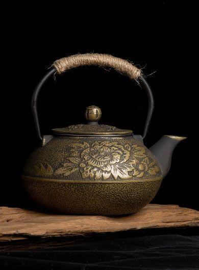 Bronze Peony Cast Iron Teapot 900ML
