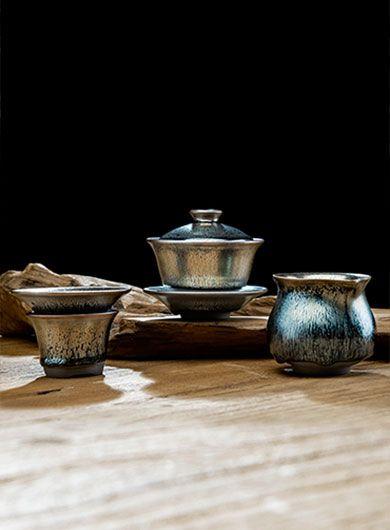 Handmade Jianyang Jianzhan Gaiwan Tea Set