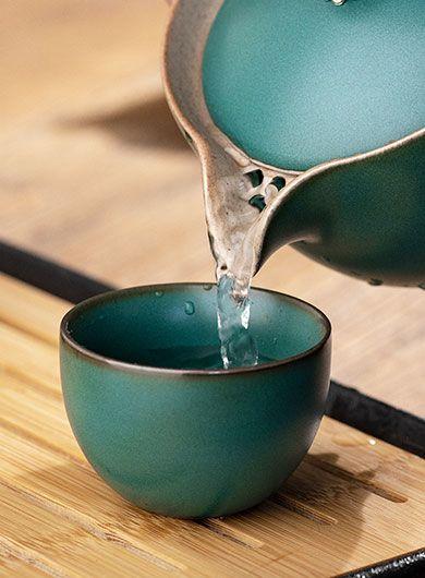 Coarse Pottery Kuai Ke Bei Travel Tea Set