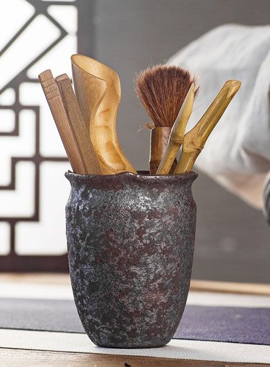 Rust-Glazed Coarse Pottery Cha Dao Set Tea Utensil 6 Pieces