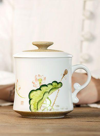 Hand Painted Lotus Porcelain Tea Mug with Infuser