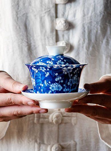 Blue & White Plum Porcelain Gaiwan