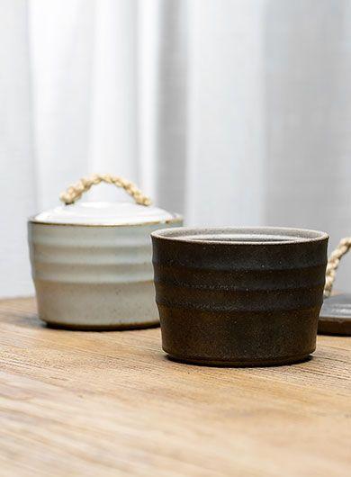 Coarse Pottery Rope Handle Tea Caddy