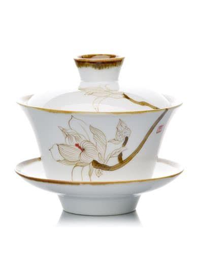 Hand Painted San Cai Porcelain Gaiwan