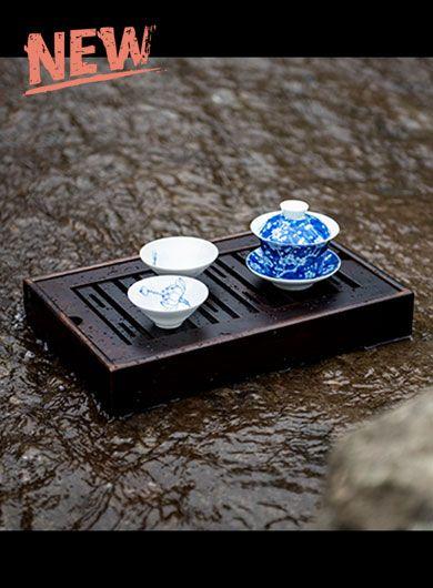 Bamboo Tea Tray Walnut Color