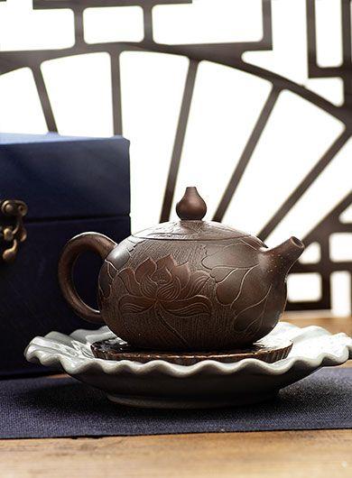 Handmade Xishi Lotus Qinzhou Nixing Pottery Teapot