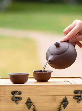 Xishi Purple Clay (Zi Sha) Bamboo Travel Tea Set