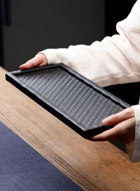 Bamboo Braided Style Black Pottery Tea Tray