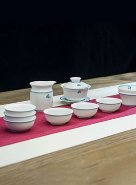 Double Blue Lines Porcelain Gaiwan Tea Set Category