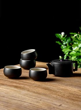 Zen Style (Chan Feng) Black Pottery Tea Set