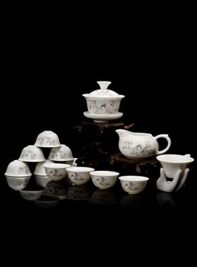 Chinese Bone china Tea Sage Gaiwan Tea Set Category