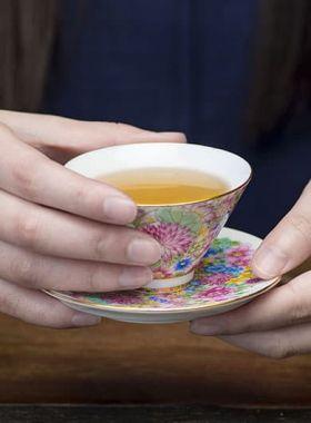 Flowers Blooming Porcelain Tea Cup