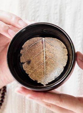 Handmade Jianyang Jianzhan Tea Cup - Bodhi Leaf