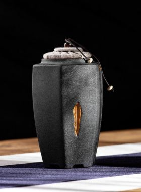 Hexagon Coarse Pottery Tea Caddy