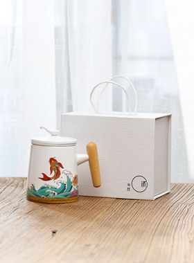 Koi Fish Ceramic Tea Mug with Infuser
