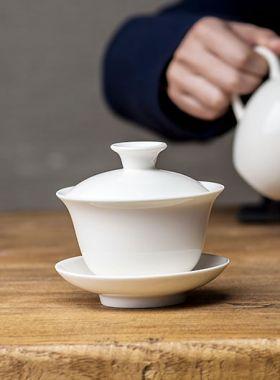 White Porcelain Gaiwan and Tea Pitcher (Cha Hai)