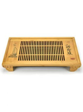 Sailboat Engrave Gongfu Bamboo Tea Tray