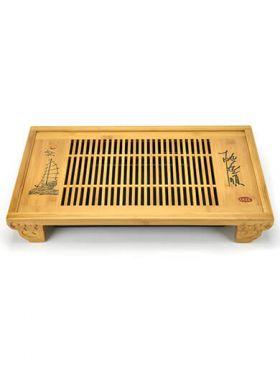 Sailboat Engrave Gongfu Bamboo Tea Tray
